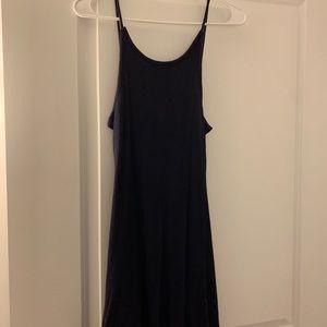 Topshop Navy Ribbed Mini Dress